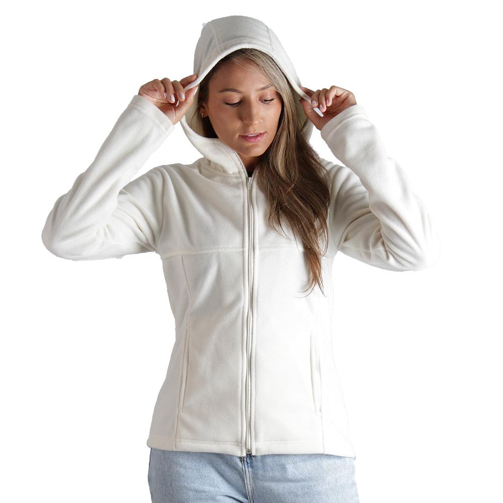 Casaco Fleece Térmico Feminino Com Capuz - 2029 Branco